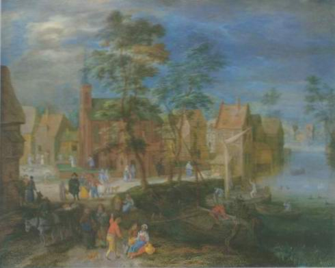 a village Scene painting, a Pieter gysels paintings reproduction, we never sell a village Scene