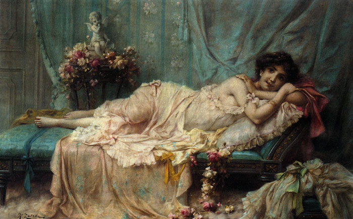 Zatzka Oil Painting Reproductions - Reclining Beauty