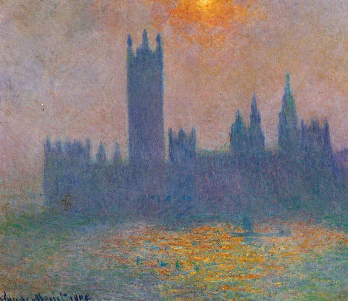 Monet Oil Painting Reproductions - Houses of Parliament Effect of Sunlight in the fog