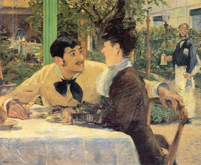 Edouard Manet Oil Painting Reproductions- Chez Le Pere Lathuile [ At Le Pere Lathuile]