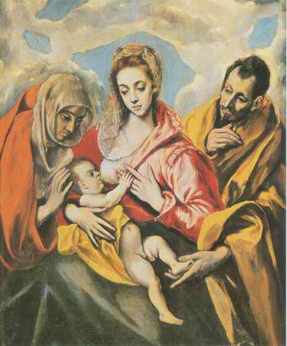 The Holy Family with Saint Anne and the Infant Joh painting, a El Greco paintings reproduction, we