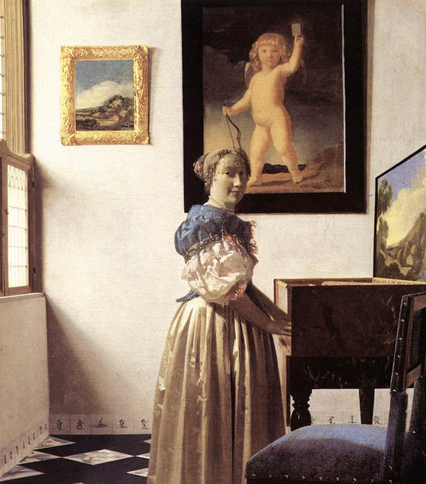 Oil Painting Reproduction of Vermeer- Lady Standing at a Virginal