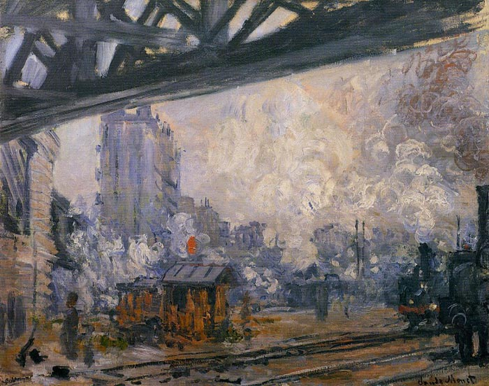 Oil Painting Reproduction of Monet- Exterior View of the Saint-Lazare Station