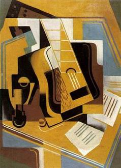 guitar and books painting, a Juan Gris paintings reproduction, we never sell guitar and books poster