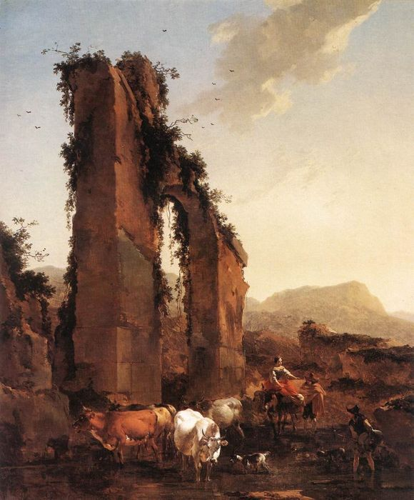 Berchem Reproductions - Peasants with Cattle by a Ruined Aqueduct