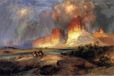Cliffs of the Upper Colorado River painting, a Thomas Moran paintings reproduction, we never sell