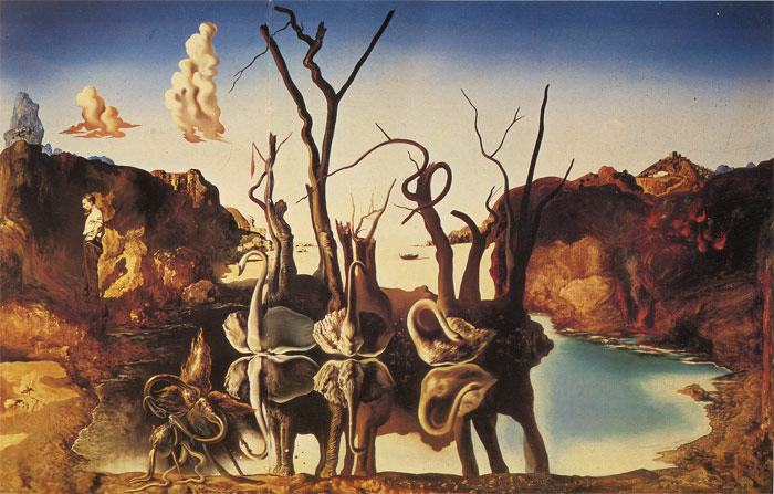 Dali Oil Painting Reproductions - Swans Reflecting Elephants
