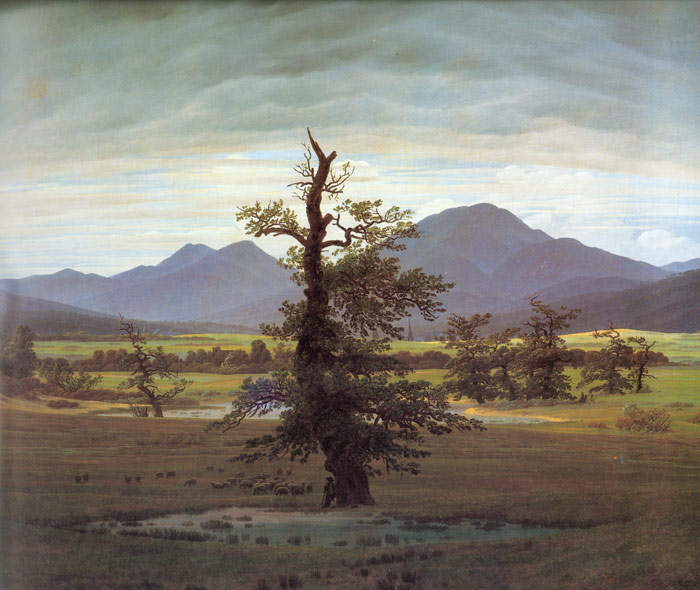 Friedrich Oil Painting Reproductions - Landscape with Solitary Tree