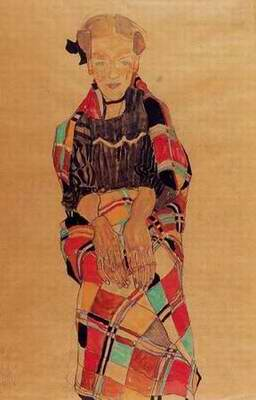 Girl in Black Pinafore, Wrapped in Plaid blanket painting, a Egon Schiele paintings reproduction, we