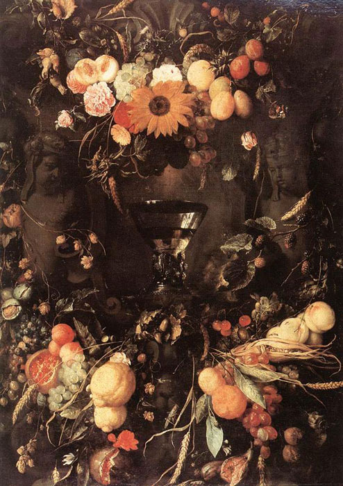 Heem Oil Painting Reproductions- Fruit and Flower Still-life