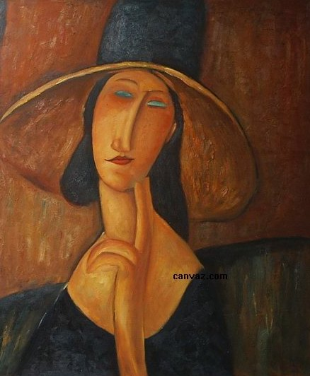 Jeanne Hebuterne in Large Hat painting, a Amedeo Modigliani paintings reproduction, we never sell