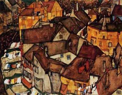Krumau Town Crescent I painting, a Egon Schiele paintings reproduction, we never sell Krumau Town