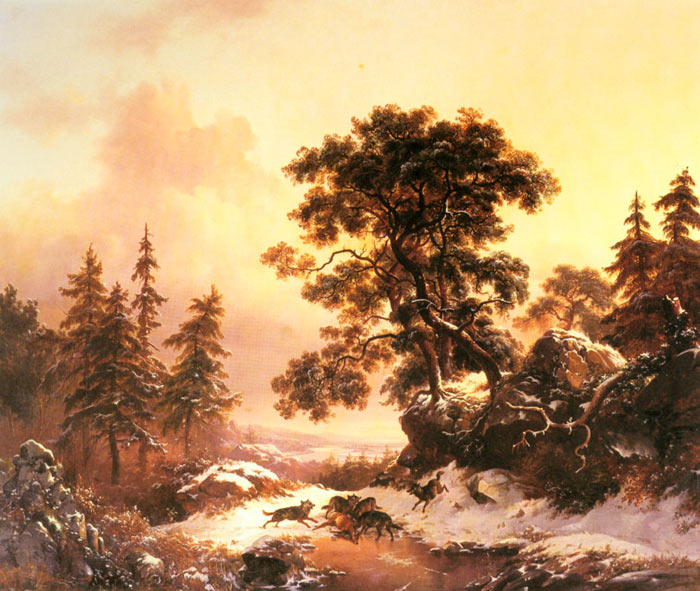Kruseman Oil Painting Reproductions - Wolves in a Winter Landscape