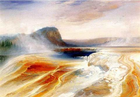 Lower Geyser Basin painting, a Thomas Moran paintings reproduction, we never sell Lower Geyser Basin