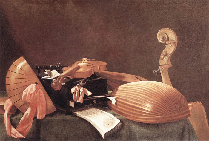 Oil Painting Reproduction of Baschenis- Still Life with Musical Instruments
