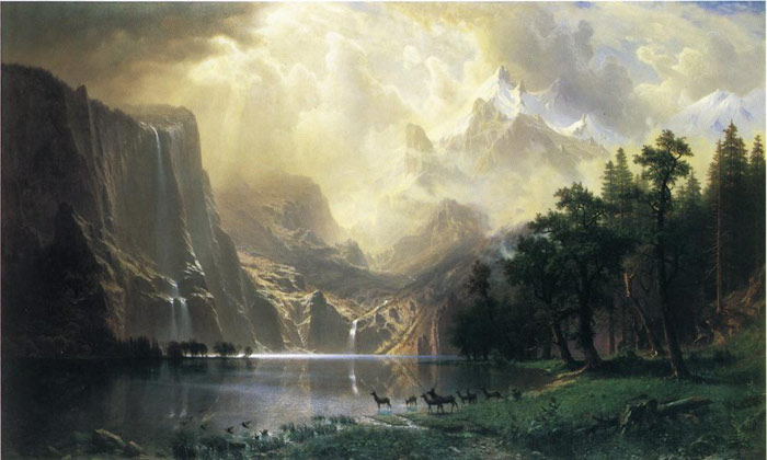 Oil Painting Reproduction of Bierstadt - Among the Siera Navada Mountains, California