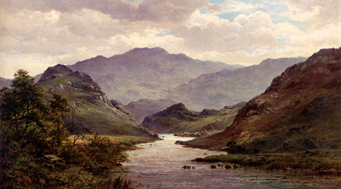 Oil Painting Reproduction of Breanski - The River Colwyn, North Wales