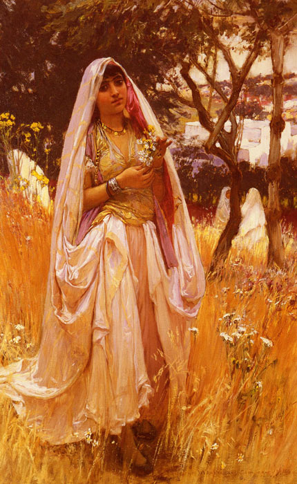 Oil Painting Reproduction of Bridgeman-Moorish Girl Algiers Countryside