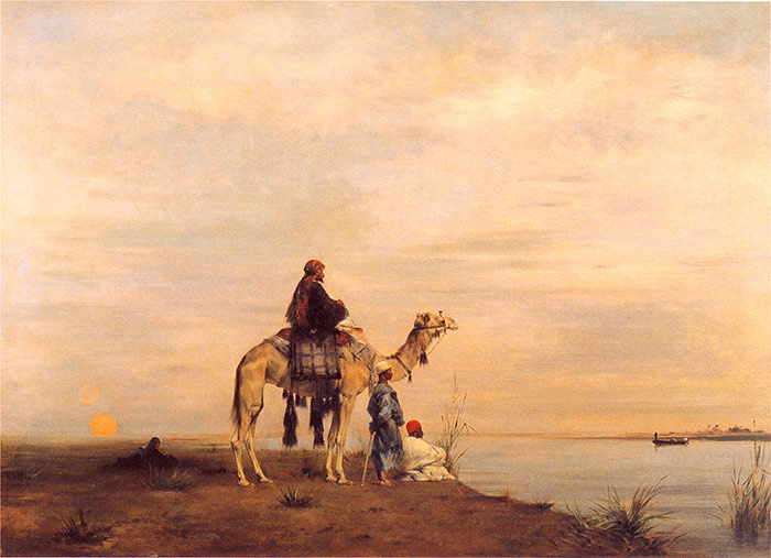 Oil Painting Reproduction of Fromentin- Waiting for The Ferry Across the Nile