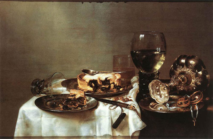 Oil Painting Reproduction of Heda- Breakfast Table with Blackberry Pie