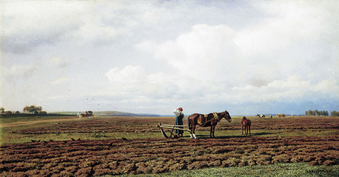 Oil Painting Reproduction of Klodt - Ploughing