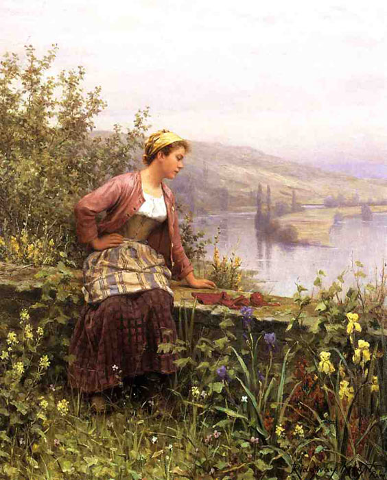 Oil Painting Reproduction of Knight- Brittany Girl Overlooking Stream