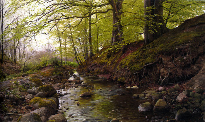 Oil Painting Reproduction of Monsted - Stream in the Woods