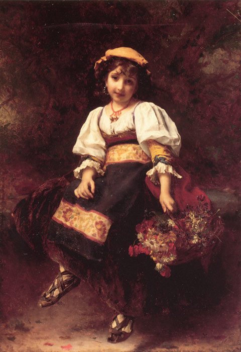 Oil Painting Reproduction of Piot- The Flower Seller