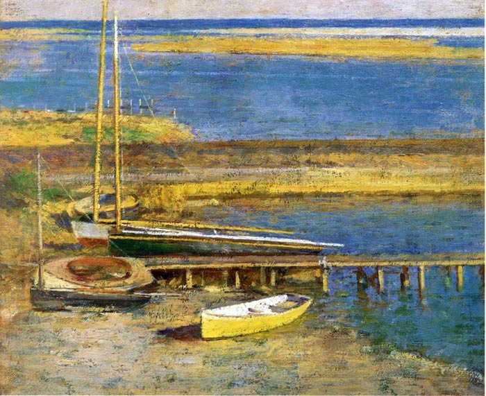 Oil Painting Reproduction of Robinson Theodore - Boats at a Landing