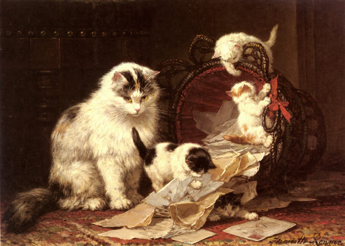 Oil Painting Reproduction of Ronner-Knip - De Snippermand [The Waste Paper Basket]