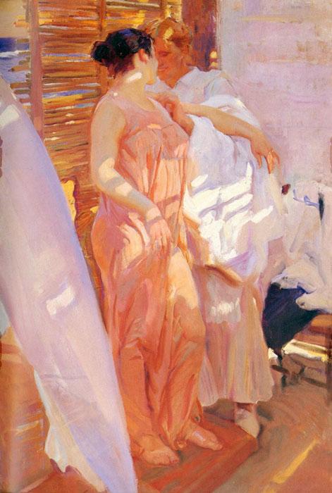 Oil Painting Reproduction of Sorolla y Bastida- La bata rosa [The Pink Robe]