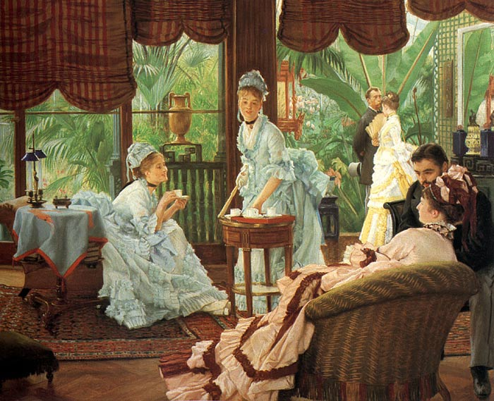 Oil Painting Reproduction of Tissot - In the Conservatory