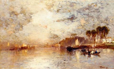 On the St. Johns River painting, a Thomas Moran paintings reproduction, we never sell On the St.