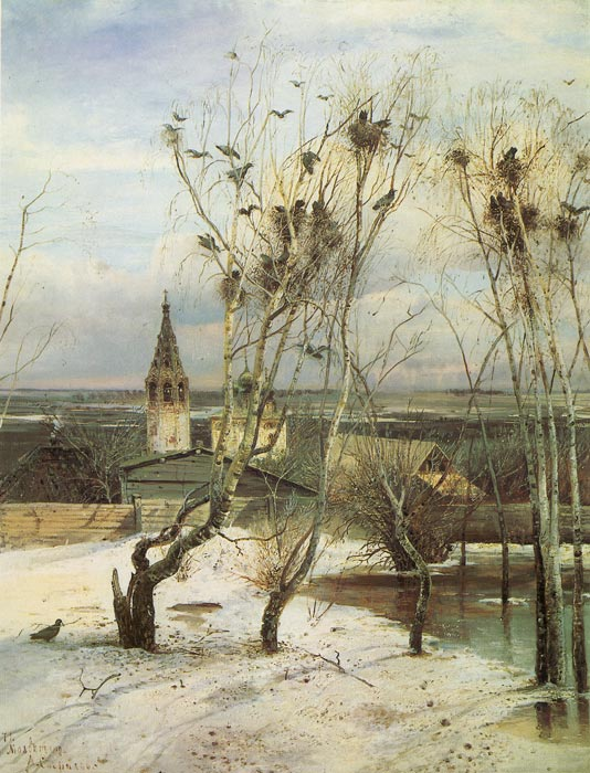 Savrasov Oil Painting Reproductions- Crows Came Along