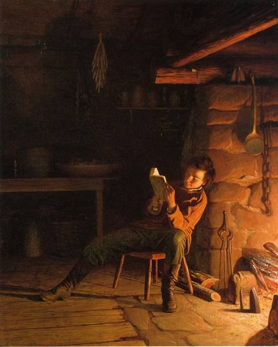 The Boyhood of Abraham Lincoln painting, a Eastman Johnson paintings reproduction