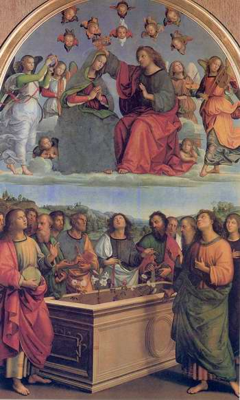 The Crowning of the Virgin (Oddi altar) painting, a Raphael Santi paintings reproduction, we never