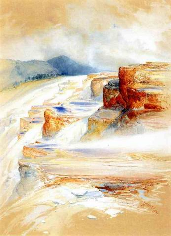 The Hot Springs of Gardiners River, Dianas Baths painting, a Thomas Moran paintings reproduction, we