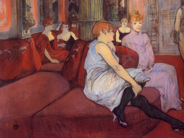 Toulouse- Lautrec Oil Painting Reproductions- The Parlor at Rue des Moulins