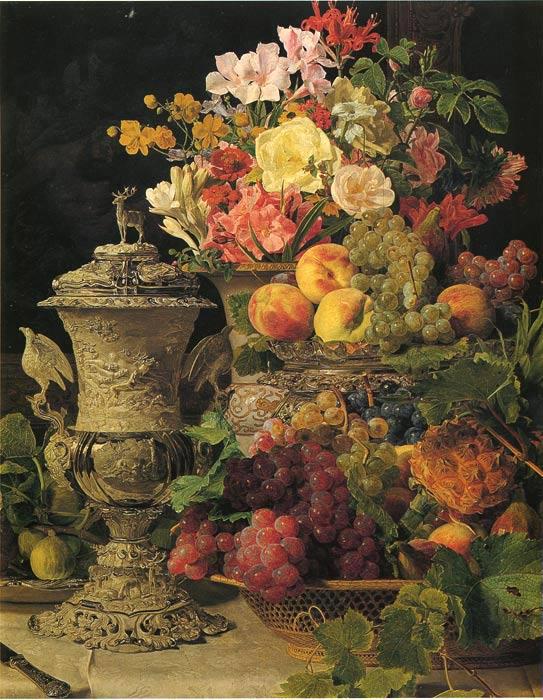 Waldmuller Oil Painting Reproductions- Stilleben mitFruchten und Blumen