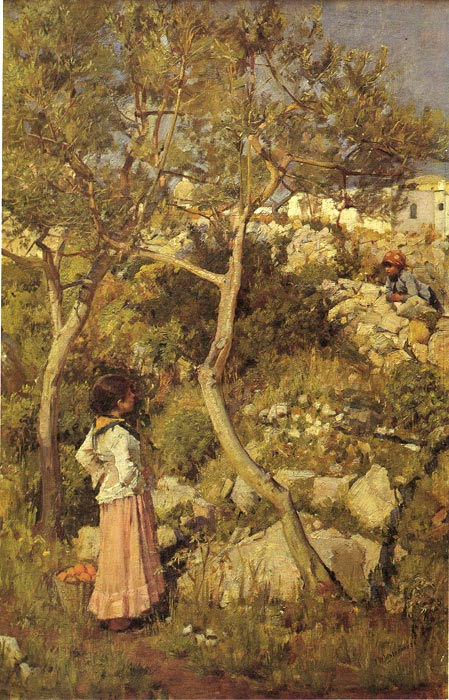 Waterhouse Oil Painting Reproductions - Two Little Italian Girls by a Village