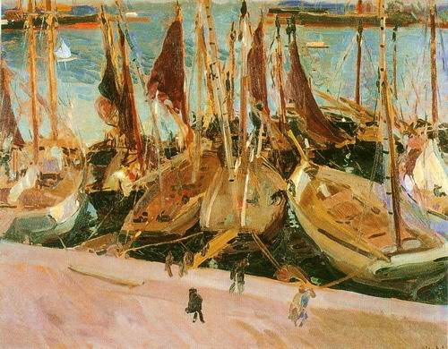 finshing boat in harbor painting, a Joaquin Sorolla Bastida paintings reproduction, we never sell