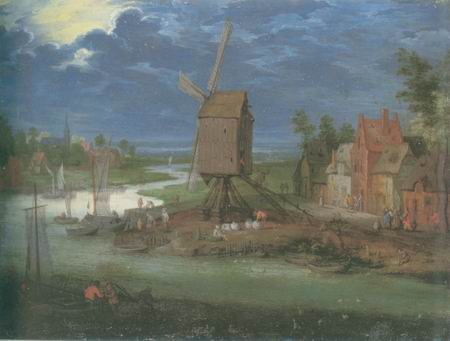 landing stage and windmill painting, a Pieter Gysels paintings reproduction, we never sell landing