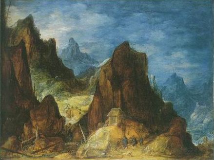 mountainous scenery , travellers near a hut painting, a Joos De Momper paintings reproduction, we