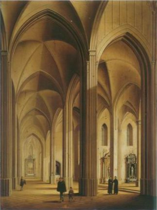 the interior of a Gothic Cathedral painting, a Johann Ludwig Ernst Morgenster paintings