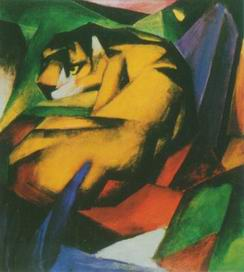tiger painting, a Franz Marc paintings reproduction, we never sell tiger poster