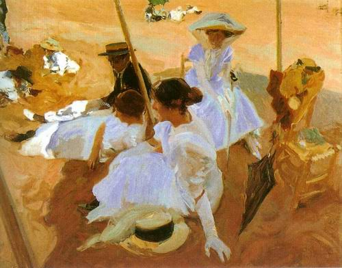 under the velaria painting, a Joaquin Sorolla Bastida paintings reproduction