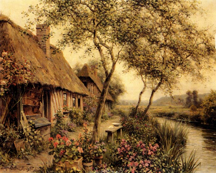 Oil Painting Reproduction of Knight- Cottages Beside A River