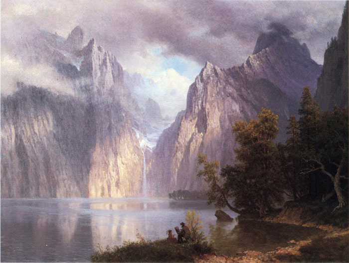 Bierstadt Oil Painting Reproductions - Scene in the Sierra Nevada