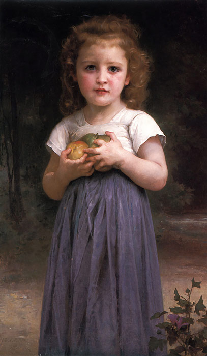 Oil Painting Reproduction of Bouguereau- Little girl holding apples in her hands
