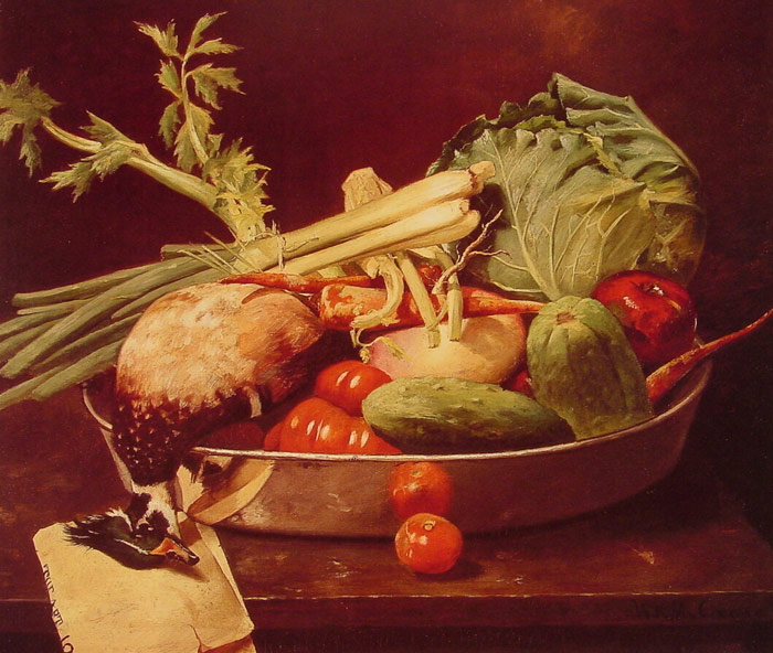 Oil Painting Reproduction of Chase - Still Life with Vegetables